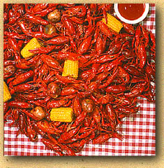 spicy crawfish, live crawfish, crawdads, louisiana seafood, corn, peppers, ketchup